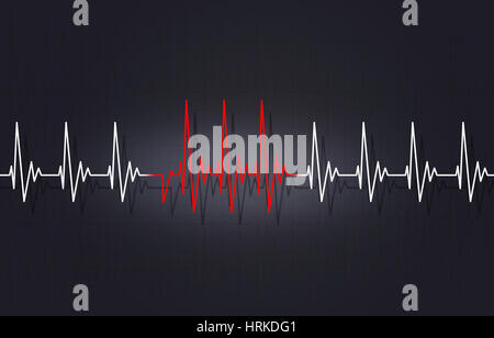 medicine illustration of heart wrong irregular pulsating - Stock Photo