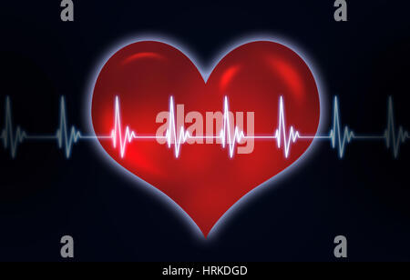 abstract medicine illustration of heart human heart pulse - Stock Photo