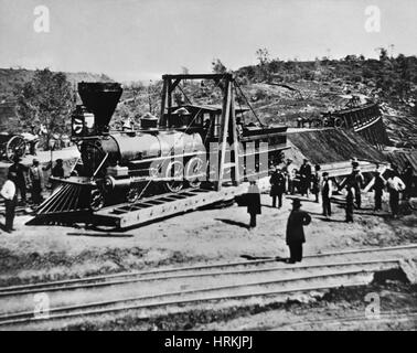 Railroad Construction, Topeka 1870 - Stock Photo