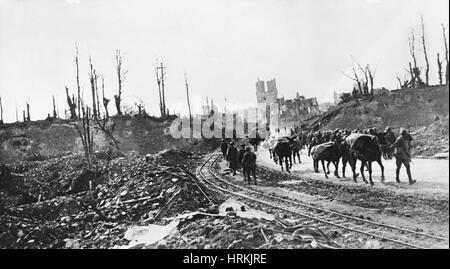 WWI, POWs Entering Ypres, 1917 - Stock Photo
