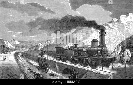 Steam Locomotive with Coal Car, 19th Century - Stock Photo