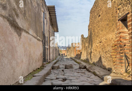 A view ancient ruins in city of Pompeii, Italy. - Stock Photo