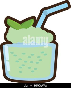 cartoon smoothie mint fresh drink - Stock Photo