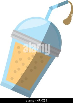 fruit smoothie plastic cup straw shadow - Stock Photo