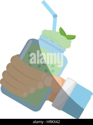 hand holding smoothie mint fresh drink - Stock Photo