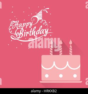 happy birthday card pink cake lettering confetti - Stock Photo