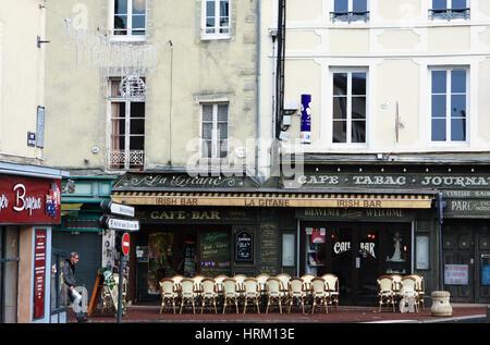 An Irish bar in Bayeux, Normandy, France. - Stock Photo