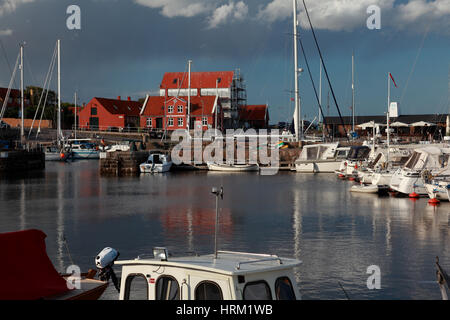 Fishing boats moored in the harbour at Svaneke, a small town on the east coast of the Baltic island of Bornholm, - Stock Photo