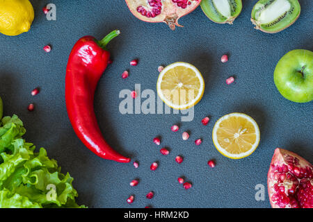 red pepper and lemon slices on gray background.