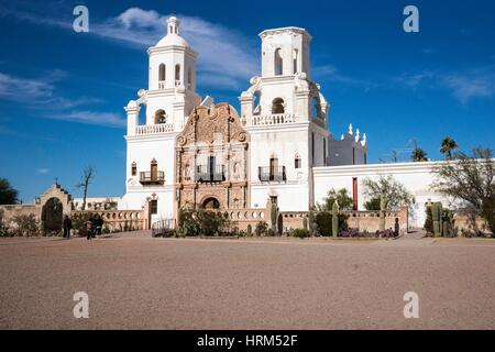 Mission San Xavier del Bac (White Dove of the Desert), Tucson, Arizona, USA - Stock Photo