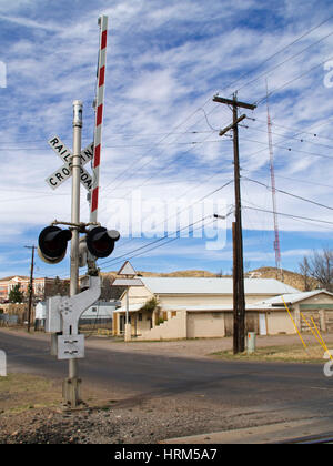 Locks on a railroad signal cabinet in Alpine, West Texas. - Stock Photo