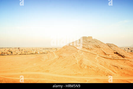 View on Zoroastrian Fire temple in Yazd - Stock Photo