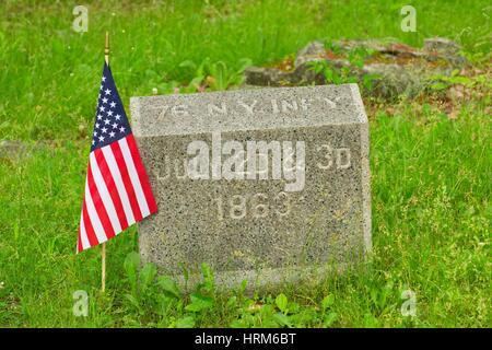 76th New York Infantry marker, Gettysburg National Military Park, Pennsylvania. - Stock Photo