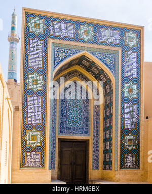 back entrance of jame Mosque in Yazd - Iran - Stock Photo