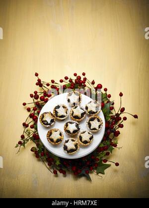 Homemade fruit chrismas Mince pies - Stock Photo