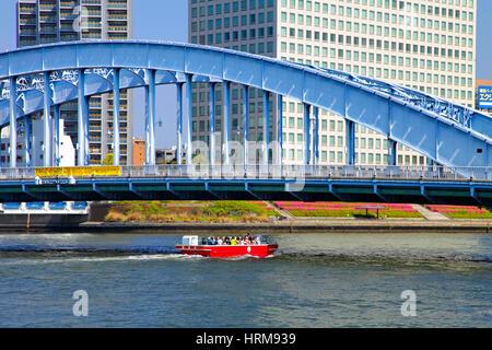 Sumida-Gawa River and Eitai-Bashi Bridge in Tokyo Japan - Stock Photo