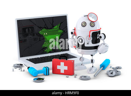 Medic Robot. Laptop repair concept. Isolated on white background - Stock Photo