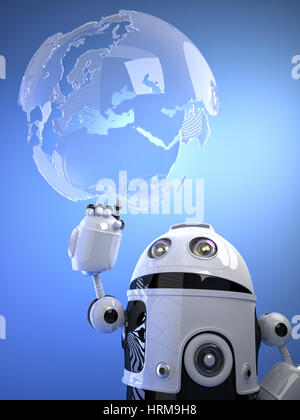 Robot touching a digital virtual globe. Technology concept - Stock Photo