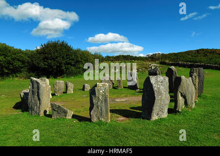 Mysterious and fascinating Drombeg Stone Circle in the County Cork, Ireland - Stock Photo