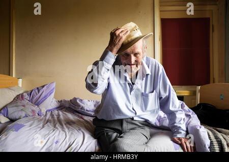 Bedridden man UK - Stock Photo