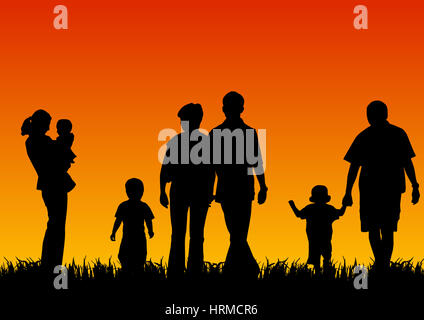silhouettes of young people with children - Stock Photo