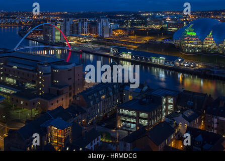 A view at night of the BALTIC Centre for Contemporary Arts and the Sage music centre in Gateshead, Tyne and Wear, - Stock Photo