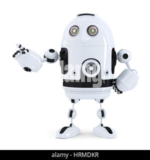 Cute robot pointing on something. Isolated on white background - Stock Photo