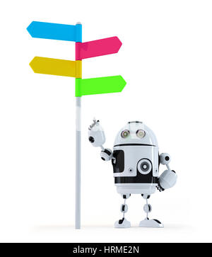 Robot pointing at road sign. Isolated on white background - Stock Photo