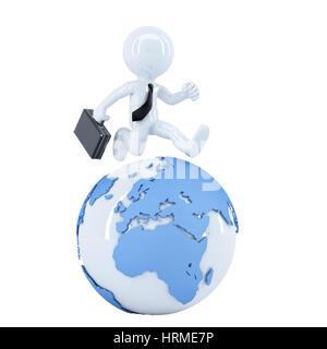 Businessman running around a globe. Isolated on white background - Stock Photo
