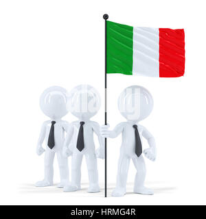 Business team holding flag of Italy. Isolated. Contains clipping path - Stock Photo