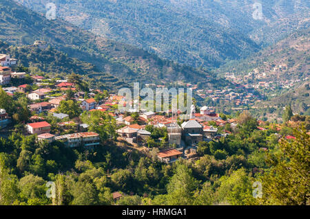 Pedoulas, a popular touristic village in the Nicosia District of Cyprus - Stock Photo