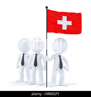 Business team holding flag of Swiss. Isolated. Contains clipping path - Stock Photo