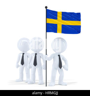 Business team holding flag of Sweden. Isolated. Contains clipping path - Stock Photo