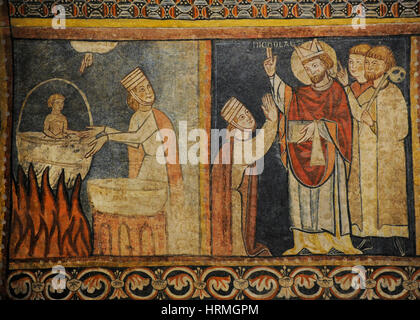 Second Master of Bierge. Scenes of the Life of Saint Nicholas, end of 13th century. Detail depicting a  crazy mother - Stock Photo