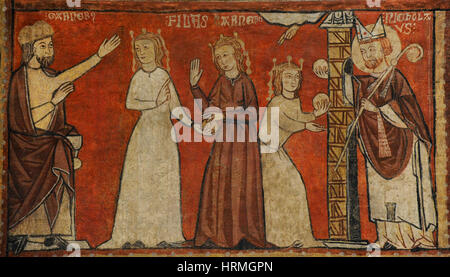 Second Master of Bierge. Scenes of the Life of Saint Nicholas, end of 13th century. Detail depicting St. Nicholas - Stock Photo