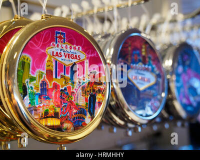 Las Vegas key chain souvenirs in a shop in Las Vegas - Stock Photo
