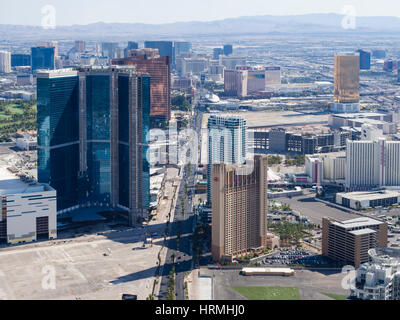 Las Vegas Boulevard ('The Strip'), seen from the observation deck of the Stratosphere tower. - Stock Photo