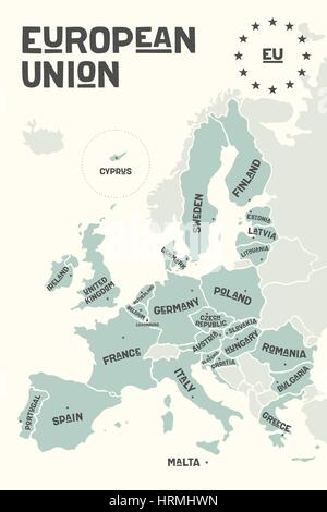 Poster map of the European Union with country names - Stock Photo