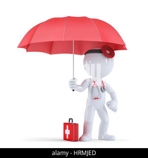 Doctor with umbrella. Health protection concept. Isolated on white. Contains clipping path - Stock Photo