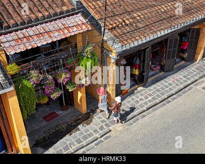 Aerial view of the street and old houses in Hoi An Ancient Town. Hoi An, Quang Nam Province, Vietnam. - Stock Photo