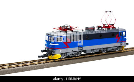 Electric locomotive on white backgroud - Stock Photo