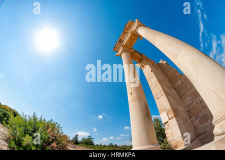 Ruins of the Sanctuary of Apollo Hylates - one of the most popular touristic place in Cyprus - Stock Photo