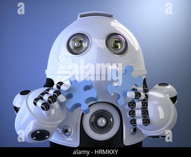 Robot joining puzzle. Technology concept. Containsclipping path - Stock Photo