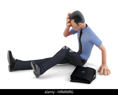 Depressed businessman sitting on the floor. 3d illustration. Contains clipping path - Stock Photo