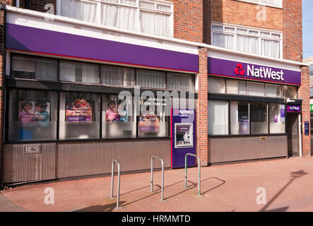 Exterior Outside Front Entrance To A Branch Of The Nat West Bank High Street Horley Surrey England UK National Westminster - Stock Photo