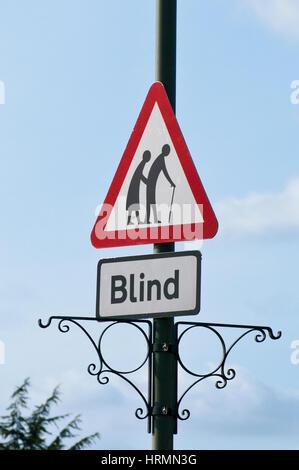 Warning Triangular Road Traffic Sign Blind People UK Roadsigns Signs - Stock Photo