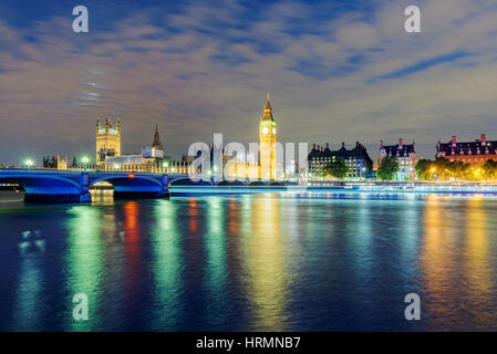 View of Big Ben and River Thames at night time - Stock Photo