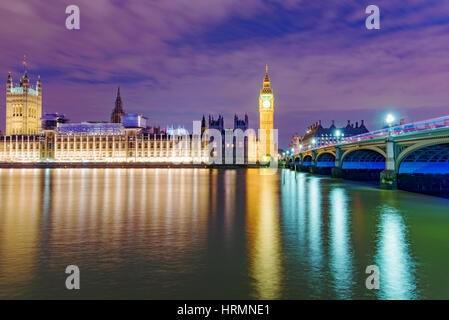 Night view of the River Thames and the Houses Parliament - Stock Photo