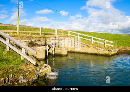 The Great Sluice on Braunton Marsh, Devon, England. - Stock Photo