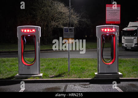 Bristol, UK. 02nd Mar, 2017. New Tesla Electric Charging points for Tesla Model S. A row of many seen at Gordano - Stock Photo